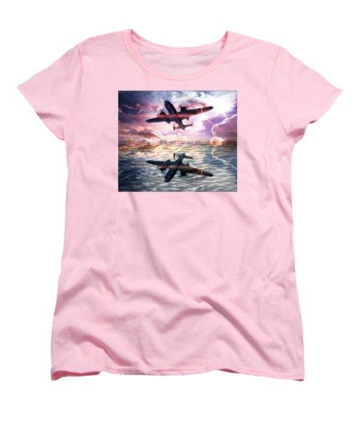Women's T-Shirt (Standard Cut) featuring the digital art B-25b Usaaf by Aaron Berg