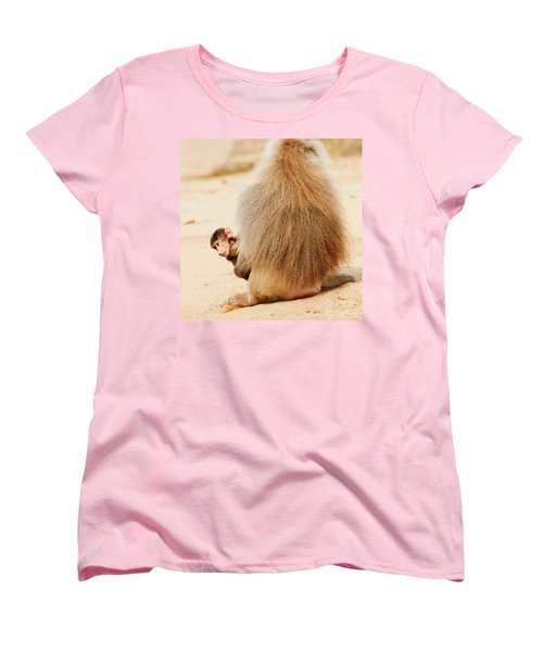 Baboon With A Baby  Women's T-Shirt (Standard Cut) by Nick  Biemans
