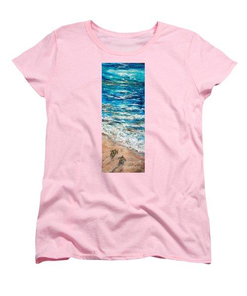 Baby Sea Turtles I Women's T-Shirt (Standard Cut) by Linda Olsen