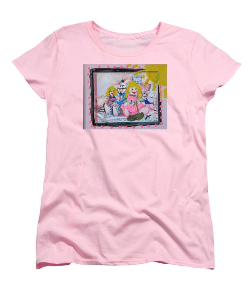 Women's T-Shirt (Standard Cut) featuring the painting Bad Bunnies by Lisa Piper