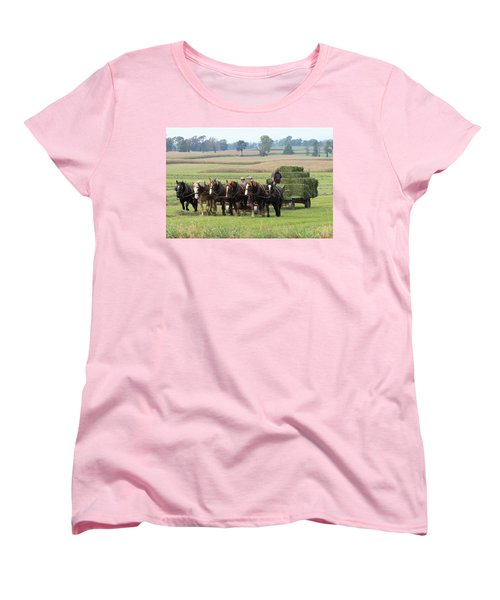 Baling The Hay Women's T-Shirt (Standard Cut) by Lou Ford