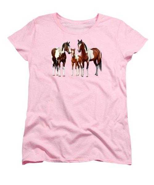 Bay Paint Horses In Winter Women's T-Shirt (Standard Fit)