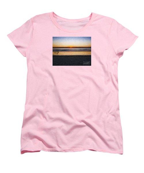 Women's T-Shirt (Standard Cut) featuring the photograph Beach Family  ... by Chuck Caramella