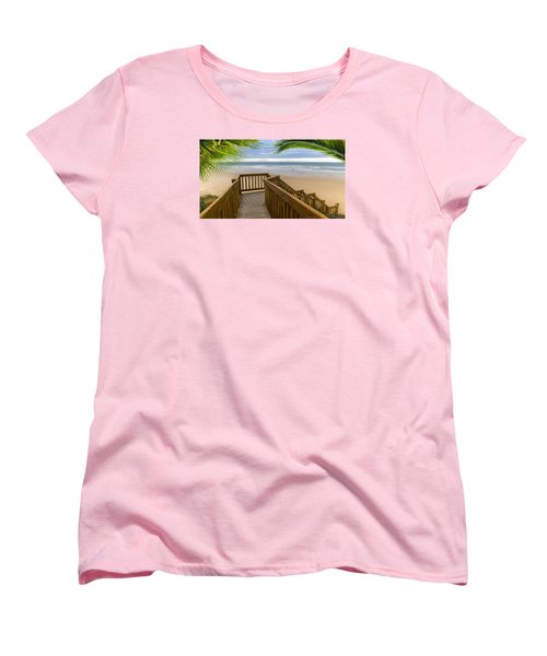 Women's T-Shirt (Standard Cut) featuring the photograph Beach Paradise 001 by Kevin Chippindall