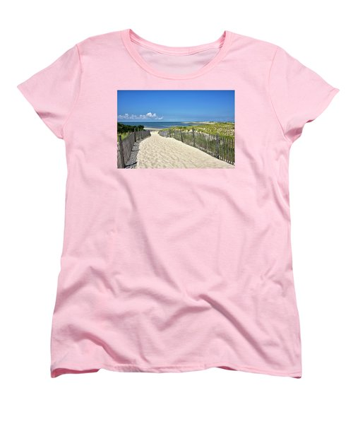 Beach Path At Cape Henlopen State Park - The Point - Delaware Women's T-Shirt (Standard Cut) by Brendan Reals
