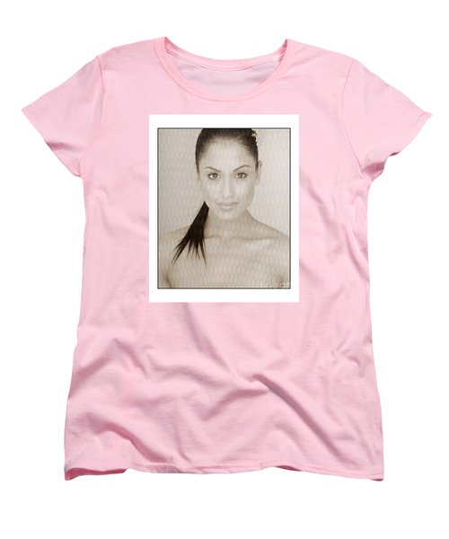 Women's T-Shirt (Standard Cut) featuring the photograph Beautiful Brunette In Studio by Michael Edwards