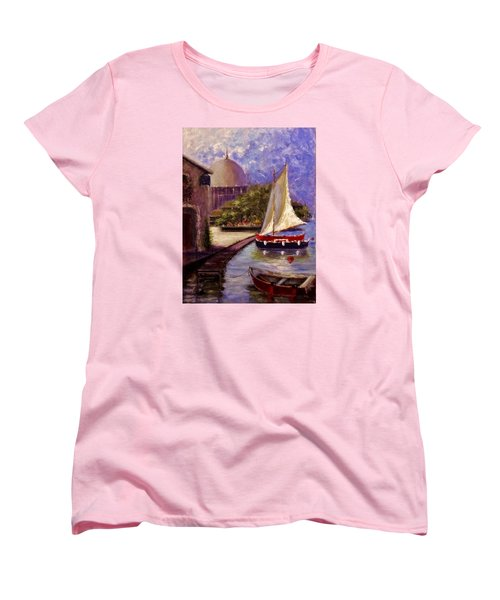 Women's T-Shirt (Standard Cut) featuring the painting Bienvenue A Yvoire.. by Cristina Mihailescu