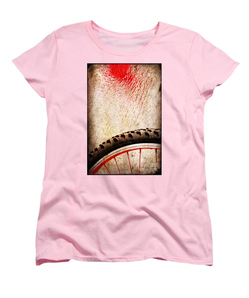Bike Wheel Red Spray Women's T-Shirt (Standard Cut) by Silvia Ganora