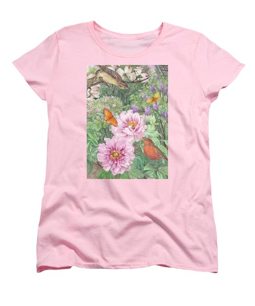Women's T-Shirt (Standard Cut) featuring the painting Birds Peony Garden Illustration by Judith Cheng