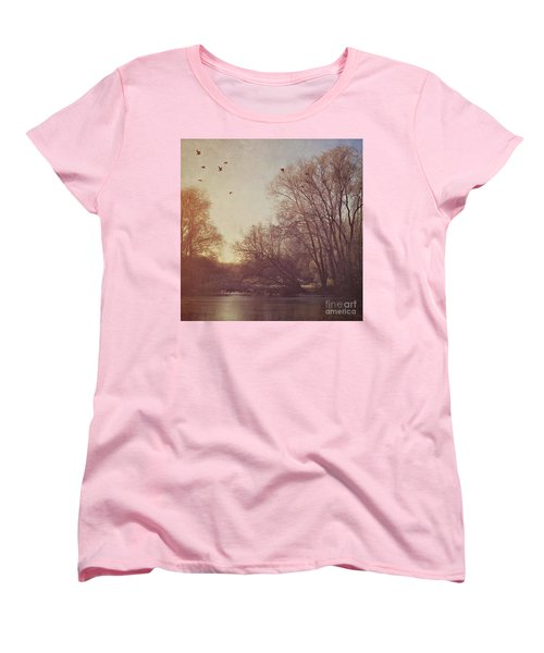 Women's T-Shirt (Standard Cut) featuring the photograph Birds Take Flight Over Lake On A Winters Morning by Lyn Randle