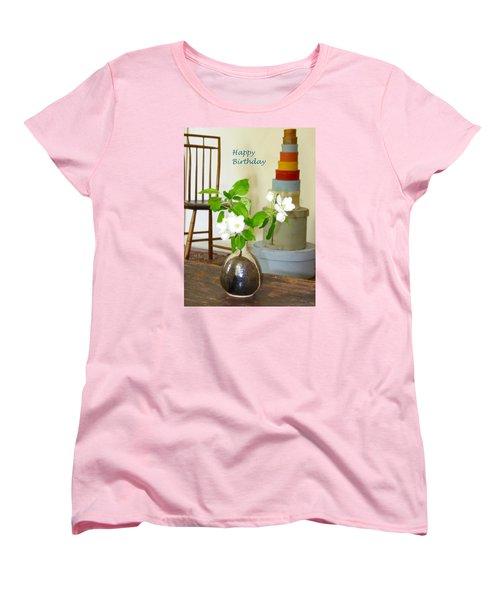 Birthday Apple Blossoms Women's T-Shirt (Standard Cut) by Deborah Dendler