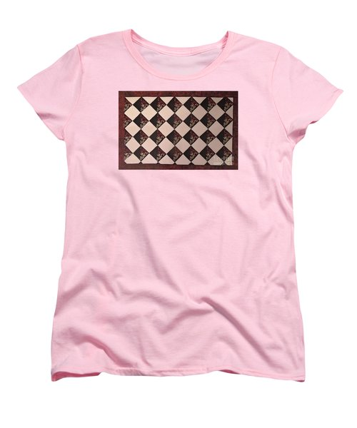Black And White Checkered Floor Cloth Women's T-Shirt (Standard Cut) by Judith Espinoza