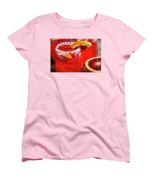 Women's T-Shirt (Standard Cut) featuring the photograph Blood Orange Margaritas On The Rocks by Teri Virbickis
