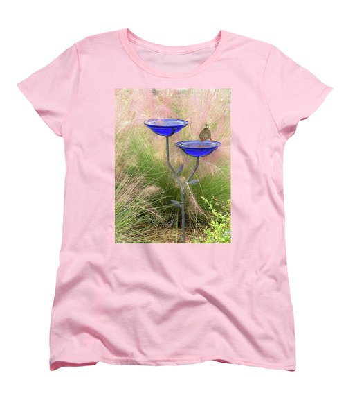 Blue Bird Bath Women's T-Shirt (Standard Cut) by Rosalie Scanlon