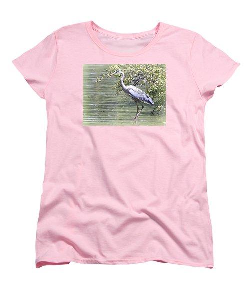 Blue Heron Women's T-Shirt (Standard Cut) by Clarice  Lakota