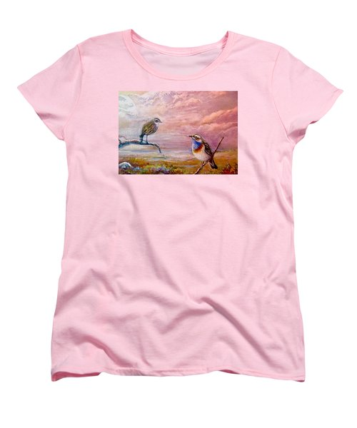 Bluethroat On The Tundra #2 Women's T-Shirt (Standard Cut) by Patricia Schneider-Mitchell