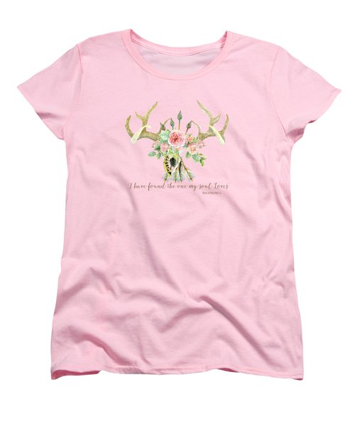 Boho Love - Deer Antlers Floral Inspirational Women's T-Shirt (Standard Cut) by Audrey Jeanne Roberts