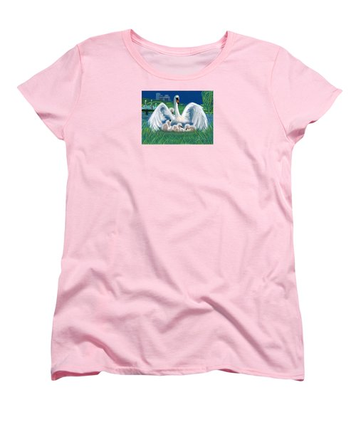 Women's T-Shirt (Standard Cut) featuring the digital art Boston Embraces Her Own by Jean Pacheco Ravinski