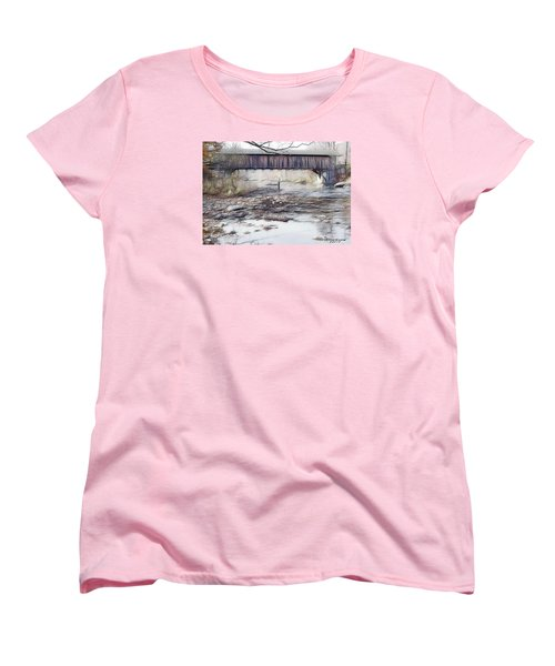 Women's T-Shirt (Standard Cut) featuring the photograph Bridge Over Troubled Waters by EricaMaxine  Price