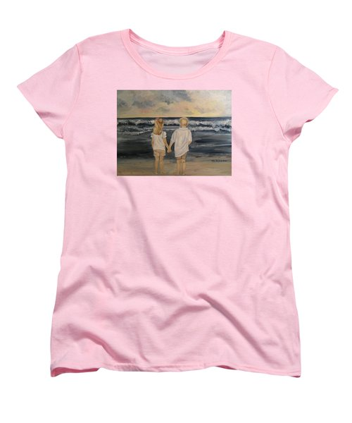 Women's T-Shirt (Standard Cut) featuring the painting Brother And Sister by Julie Brugh Riffey