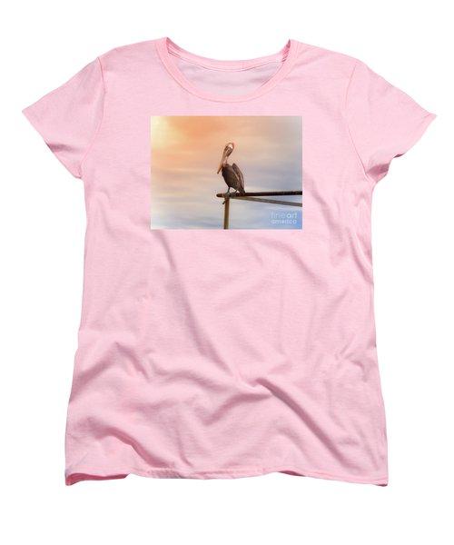 Women's T-Shirt (Standard Cut) featuring the photograph Brown Pelican Sunset by Robert Frederick