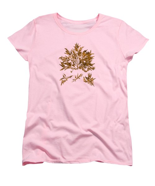 Women's T-Shirt (Standard Cut) featuring the mixed media Brown Seaweed Marine Art Chylocladia Clavellosa by Christina Rollo