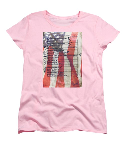 Bruce Springsteen Setlist At Rock In Rio Lisboa 2012 Women's T-Shirt (Standard Cut) by Marco Oliveira