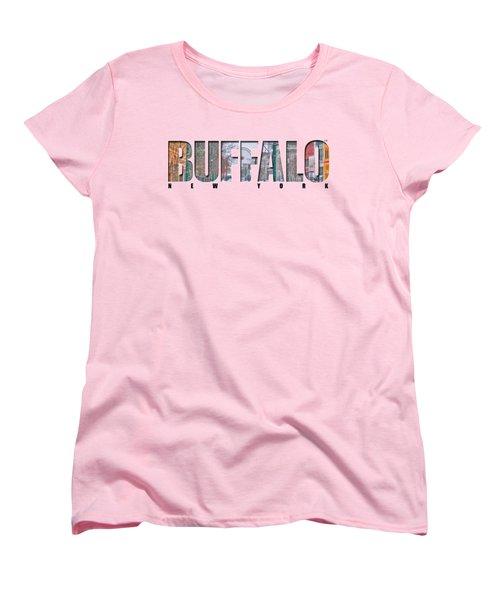 Buffalo Ny Snowy Downtown Women's T-Shirt (Standard Cut) by Michael Frank Jr