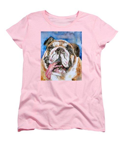 Women's T-Shirt (Standard Cut) featuring the painting Bulldog - Watercolor Portrait.3 by Fabrizio Cassetta