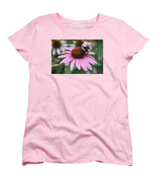 Bumble Bee On Pink Cone Flower Women's T-Shirt (Standard Cut) by Sheila Brown