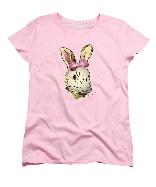 Women's T-Shirt (Standard Cut) featuring the digital art Bunny Rabbit With A Pink Bow by MM Anderson