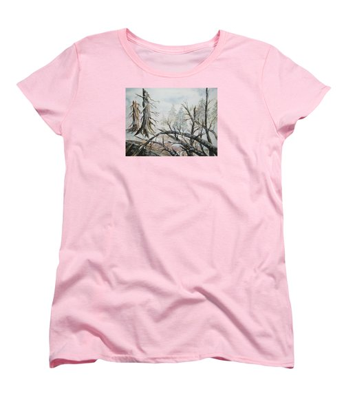 Women's T-Shirt (Standard Cut) featuring the painting Burned Forest In The Snow by Ellen Levinson