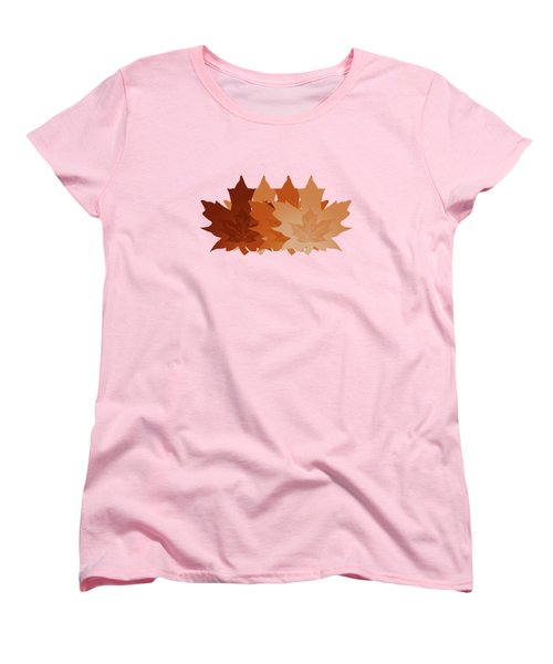 Burnt Sienna Autumn Leaves Women's T-Shirt (Standard Cut) by Methune Hively