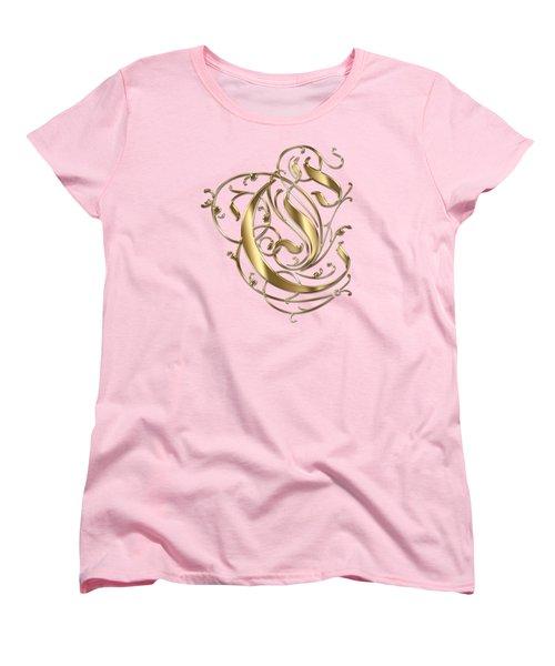 C Ornamental Letter Gold Typography Women's T-Shirt (Standard Cut) by Georgeta Blanaru