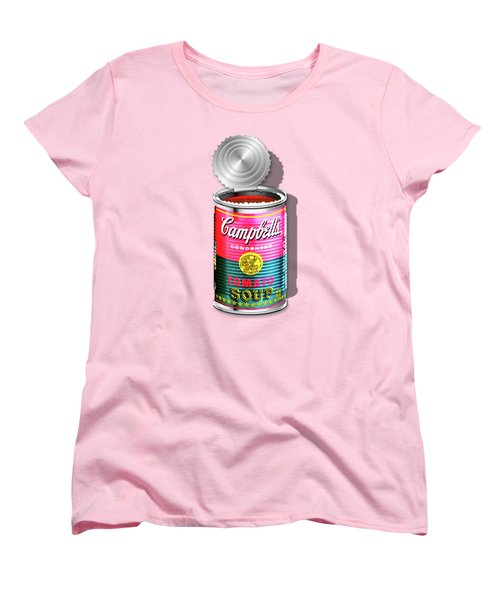 Campbell's Soup Revisited - Pink And Green Women's T-Shirt (Standard Cut) by Serge Averbukh