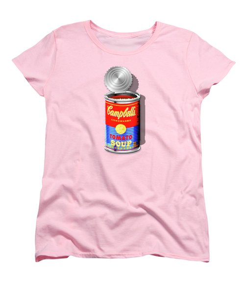 Campbell's Soup Revisited - Red And Blue   Women's T-Shirt (Standard Cut) by Serge Averbukh