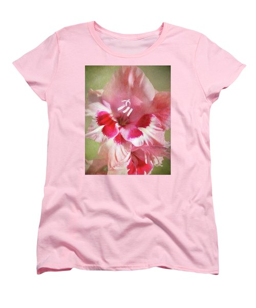 Women's T-Shirt (Standard Cut) featuring the photograph Candy Cane Gladiola by Kathi Mirto