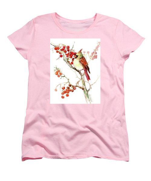 Cardinal Bird And Berries Women's T-Shirt (Standard Cut) by Suren Nersisyan