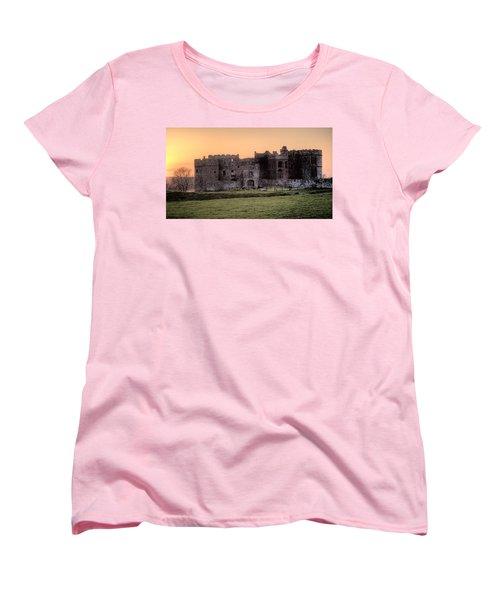 Carew Castle Coral Sunset Women's T-Shirt (Standard Cut) by Steve Purnell