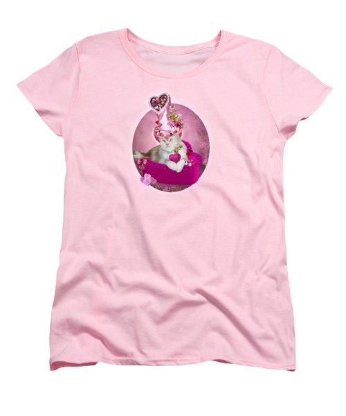 Cat In Valentine Candy Hat Women's T-Shirt (Standard Cut) by Carol Cavalaris