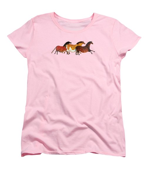 Women's T-Shirt (Standard Cut) featuring the painting Cave Horses In Beige by Hailey E Herrera