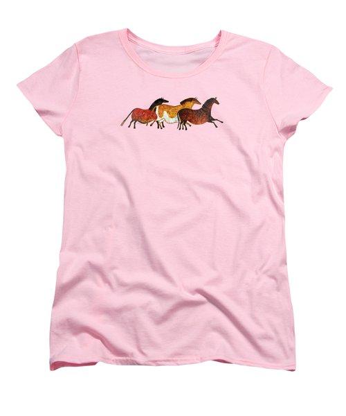 Cave Horses In Beige Women's T-Shirt (Standard Fit)