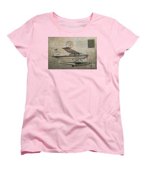 Cessna Skywagon 185 On Vintage Postcard Women's T-Shirt (Standard Cut) by Nina Silver