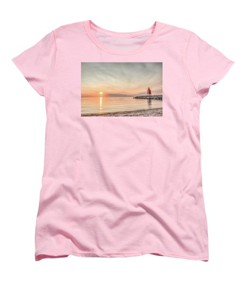 Women's T-Shirt (Standard Cut) featuring the photograph Charelvoix Lighthouse In Charlevoix, Michigan by Peter Ciro