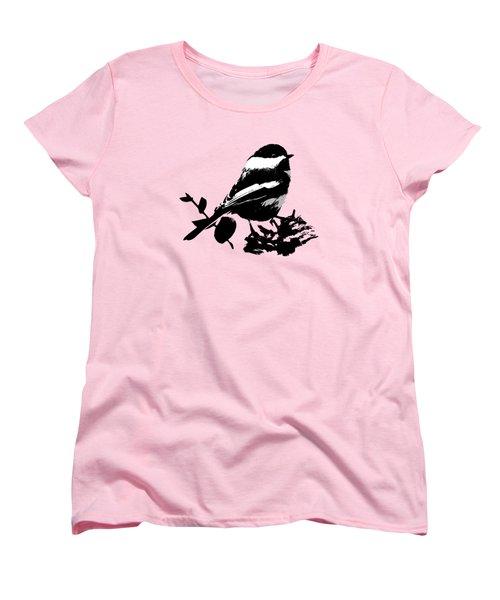 Chickadee Bird Pattern Women's T-Shirt (Standard Cut) by Christina Rollo