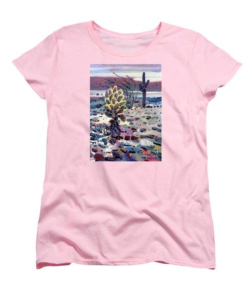 Cholla Saguargo And Ocotillo Women's T-Shirt (Standard Cut) by Donald Maier