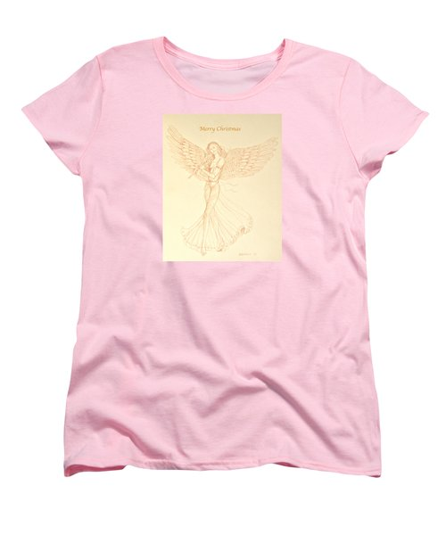 Christmas Angerl With Flute Women's T-Shirt (Standard Cut) by Deborah Dendler