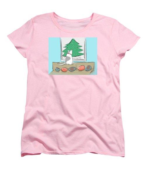 Christmas Cat Women's T-Shirt (Standard Cut) by Haleh Mahbod