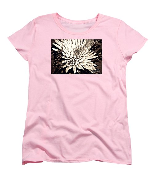 Women's T-Shirt (Standard Cut) featuring the photograph Chrysanthemum In Sepia 2  by Sarah Loft