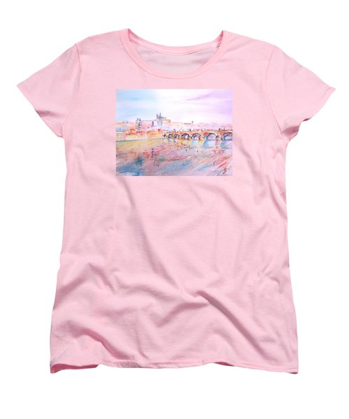 Women's T-Shirt (Standard Cut) featuring the painting City Of Prague by Elizabeth Lock